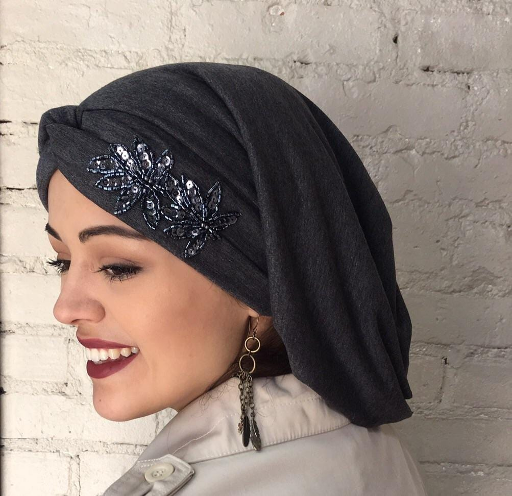 Uptown Girl Headwear Classic Top Knot Snood Turban Hijab With Stunning Applique - Uptown Girl Headwear