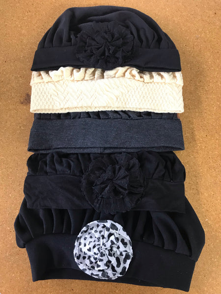 Bundle of Five Pleated Slouchy Caps For Day Wear Or Sleepwear - Uptown Girl Headwear