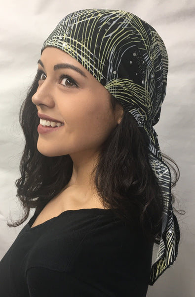 Black White Yellow Lycra Sequin Pre-Tied Head Scarf Hijab Headwear - Uptown Girl Headwear
