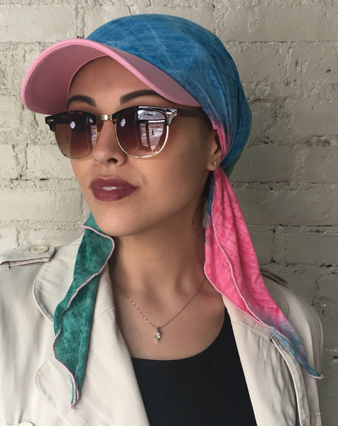 Blue Pink Green Sun Visor Hat To Conceal Hair. Head Scarf Modern Hijab Baseball Cap To Cover Your Hair - Uptown Girl Headwear