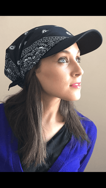 Baseball Cap Head Scarf Modern Active & Casual All Cotton Sun Visor Black Bandana - Uptown Girl Headwear