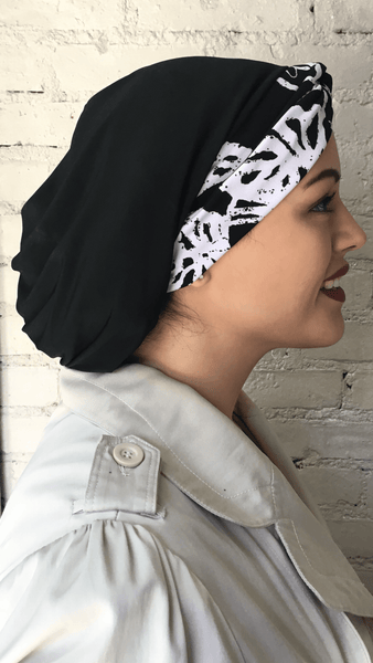 Black and White Slinky Lycra Chic Snood Turban Hijab For Muslim Jewish Christian Women - Uptown Girl Headwear