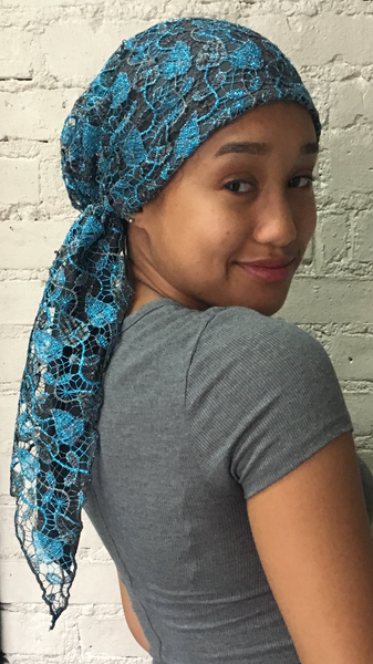 Royalty Pink or Blue Silver Lace Pre Tied Scarf Tichel Hijab With Soft Lining - Uptown Girl Headwear
