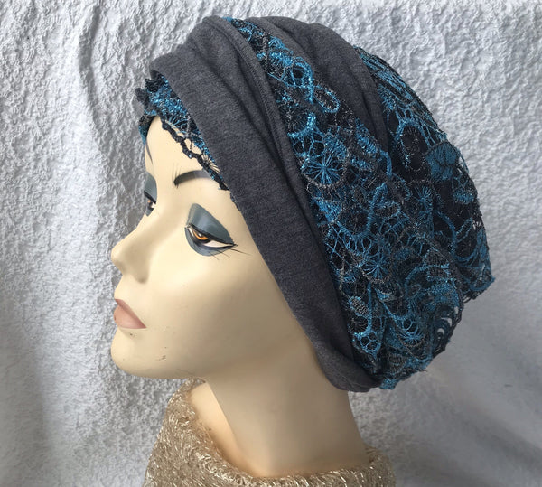Stunning Silver Blue Lace Wrap Around Pre Tied Tichel Hijab Headcovering With Lining - Uptown Girl Headwear