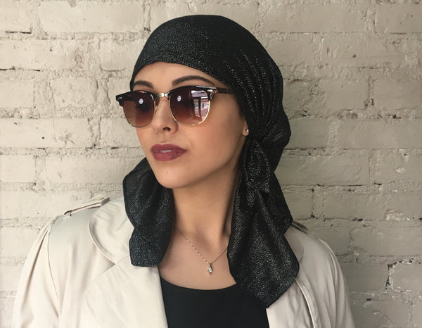 Black Tichel Metallic Shimmer Pre Tied Head Scarf Hijab  Hair Wrap For Modern Women | 7 inch ties - Uptown Girl Headwear