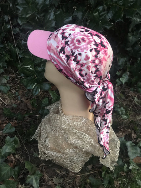 Sun Visor Scarf New 2021 Pink Mix Lightweight Chic Adorable Hat. Made in USA