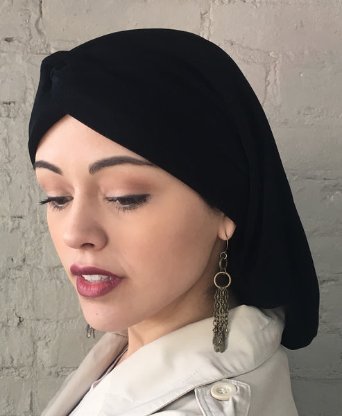 Cotton  Classic Renaissance Style Black Snood Hijab With Turban Twist Headband - Uptown Girl Headwear