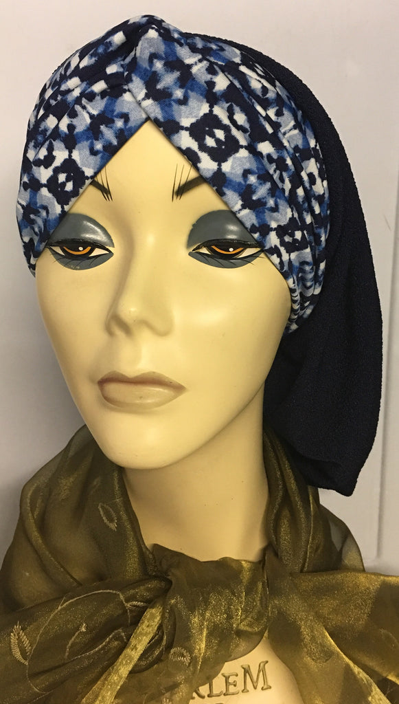 Blue Black Snood Hijab Tichel With Dark Navy Mix Front Headband - Uptown Girl Headwear