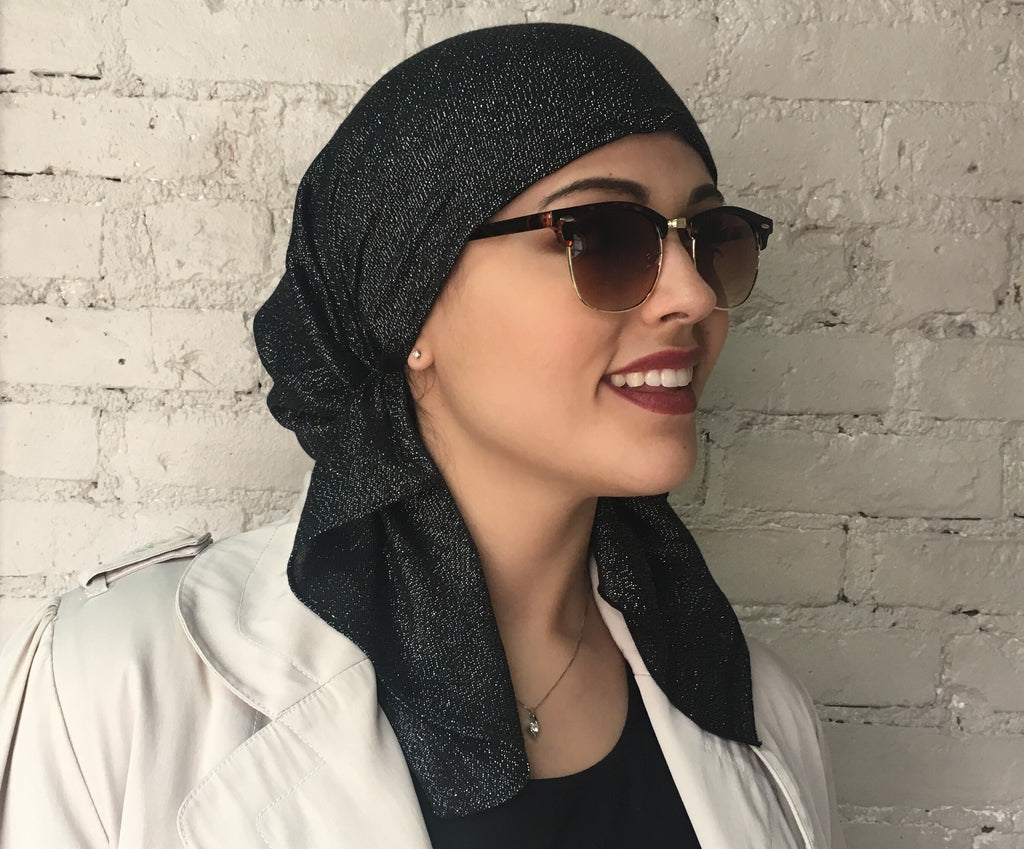 New Metallic Shimmer Pre Tied Head Scarf Hijab Tichel Hair Wrap For Modern Women . Short Tie Style - Uptown Girl Headwear
