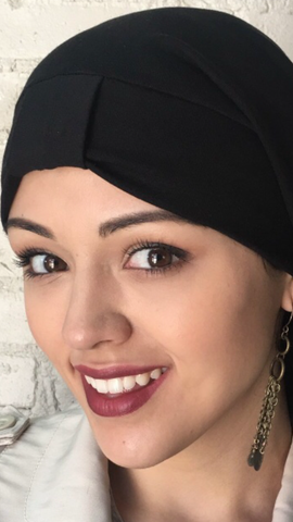 Black headcover turban for women