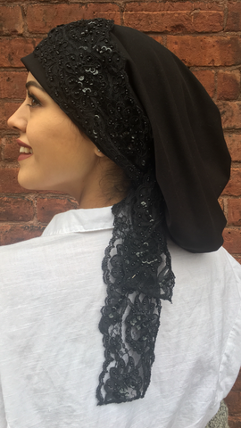 Black Lace Hijab Uptown Girl Headwear Wrap Around Lycra Headscarf Stunning Dressy Hijab Snood Turban for Women - Uptown Girl Headwear