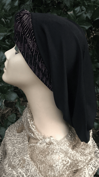 Black Pink Sparkly Lycra Snood Turban Hijab For Jewish Christian Muslim Women
