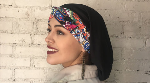 Laughing Happy Colors Turban Twist Hair Snood Hijab with Multicolor Twist Headband - Uptown Girl Headwear