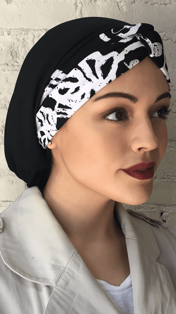 Black and White Snood Turban Hijab For Muslim Jewish Christian Women - Uptown Girl Headwear