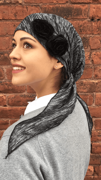 Heather Grey Knit Embellished Pre-Tied Head Scarf - Uptown Girl Headwear