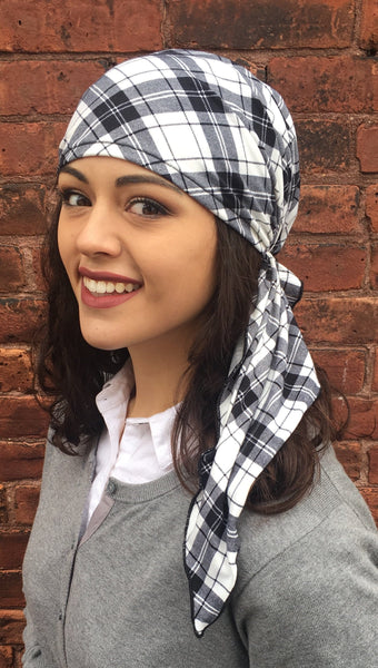 New Slip On Style Black and White Plaid Jersey Knit Fabric Head Scarf Hair Wrap - Uptown Girl Headwear