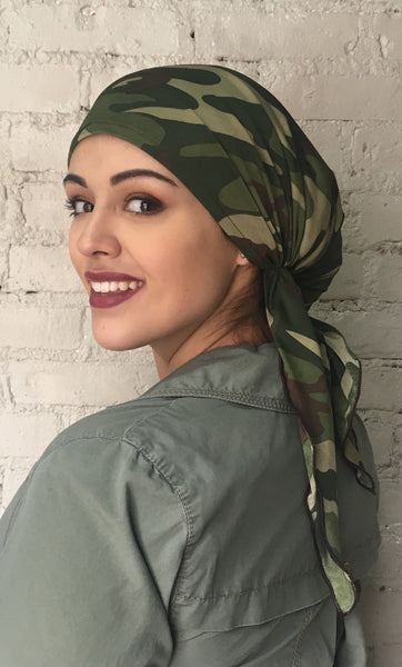 Camouflage Military Pre Tied Head Wrap Fashion Scarf Hair cover for men and Women - Uptown Girl Headwear