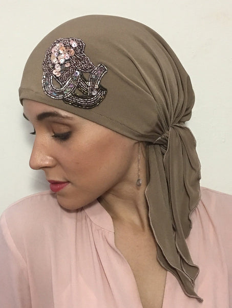 Tan Sensation Chic and Rich Hijab Tichel Hair Wrap - Uptown Girl Headwear