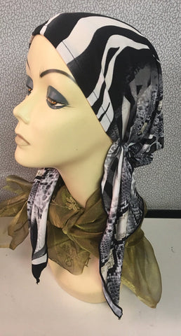 Mixed Animal Print Black & Cream Pre Tied Bandana, Scarf, Tichel - Uptown Girl Headwear