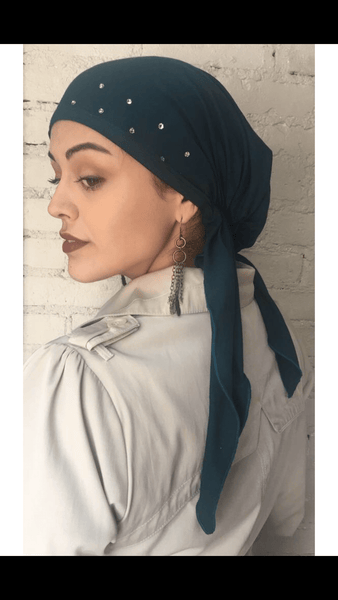 Teal Head Scarf Tichel Hijab To Cover Your Hair - Uptown Girl Headwear