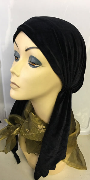 Black Velvet New Slip On Style Quality Stretchy Pre Tied Scarf Hair Wrap For Muslim Jewish Christian Women - Uptown Girl Headwear