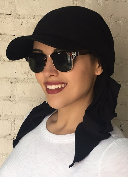 Black Sun Visor Scarf Hijab Headgear To Cover Conceal and Shade Hair by Uptown Girl Headwear - Uptown Girl Headwear
