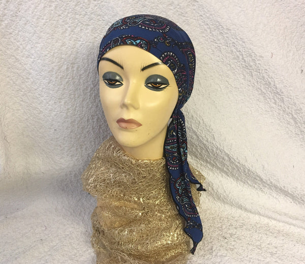 Blue pattern pre Tied Head Wrap Tichel Hijab For Spring and Summer - Uptown Girl Headwear
