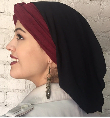 Woman's Turban Black Burgundy Snood Turban Hijab With Textured Stretch Cranberry Band - Uptown Girl Headwear