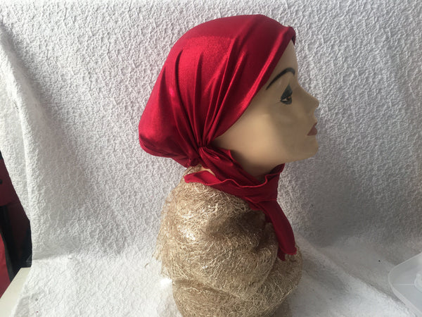 Red Head Scarf Wrap Dressy with Shimmer Shine - Uptown Girl Headwear