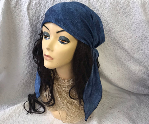 Blue Denim Spandex Head Wrap Tichel Hair Scarf For Natural Hair - Uptown Girl Headwear