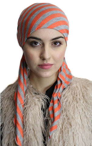 Black Friday Sale. Coral Grey Slip On Hair Wrap - with 2 long ties to tie for custom fit - Uptown Girl Headwear