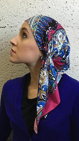 Tie Back Hat For Hair Protection Pink Multi Color Slip On Head Scarf - Uptown Girl Headwear