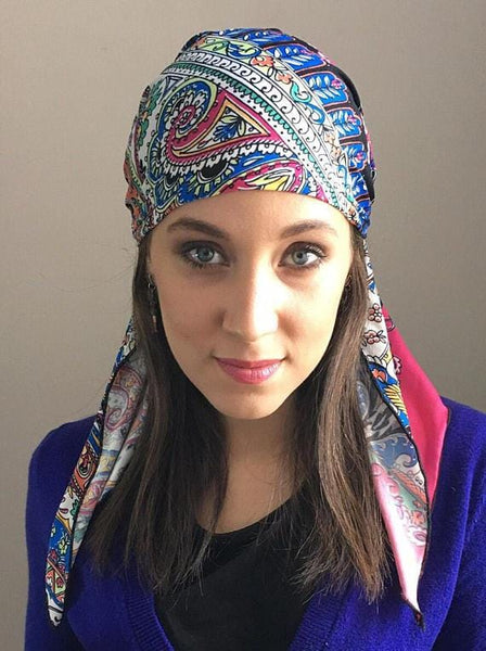 Pink Multi Color Slip On Head Scarf Hijab Tichel