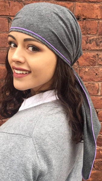 Sport Style Active Grey Jersey Knit Pre Tied Scarf with Purple Piping - Uptown Girl Headwear