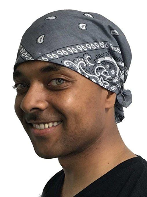 Mens XL Grey Paisley Pre-tied Bandana - Uptown Girl Headwear