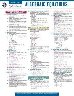 Algebra Equations Quick Access Card