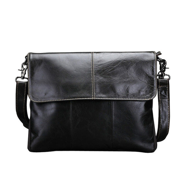 Vintage cow genuine leather messenger bags for men