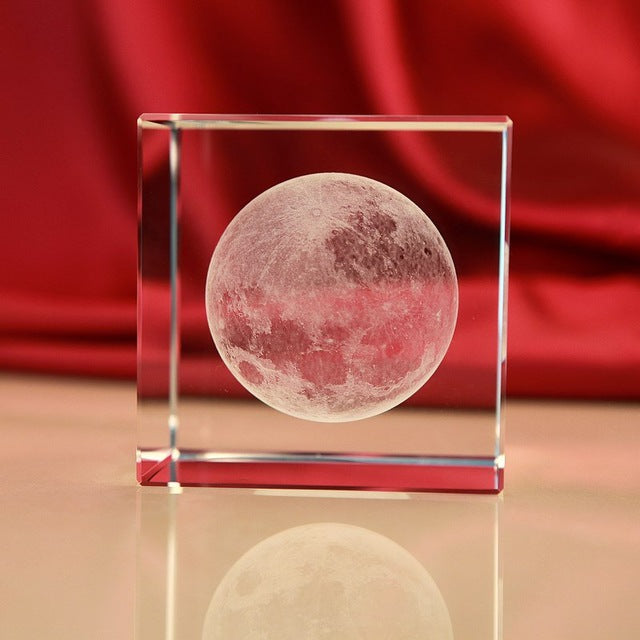 Crystal Glass Cube Moon Paperweight
