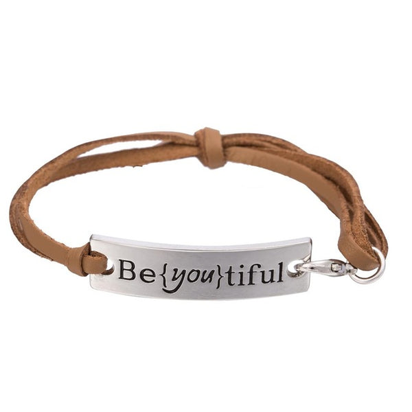"Engraved Message ""Be{you}tiful"" Charm Leather Bracelet"
