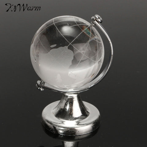 Crystal Glass Transparent Clear World Globe Paperweight