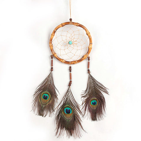"Handmade Dream Catcher peacock feather -25"" Long"