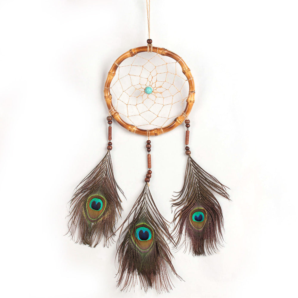 Dream Catcher Peacock Feather Car Wall Hanging Decoration Ornament Wind Chimes Gift Dreamcatcher