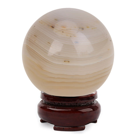 19mm Natural White Marble Crystal Ball Sphere Stone Craft with Stand