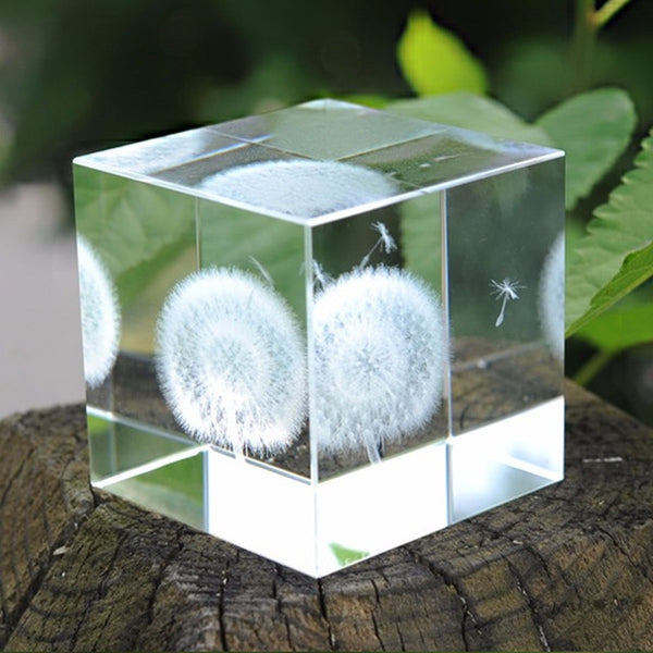 Crystal Glass Cube 3D Laser Engraved Dandelion Figurine Paperweight