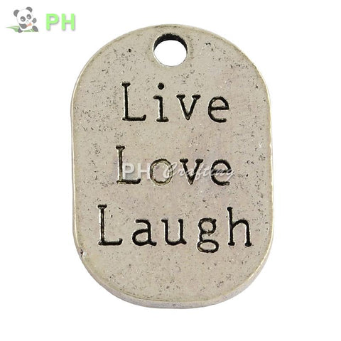 Tibetan Style Alloy Flat Oval Carved Affirmation Word Live Love Laugh Pendants