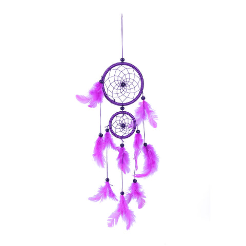 Purple Dreamcatcher Wind Chimes Indian Style Feather Pendant