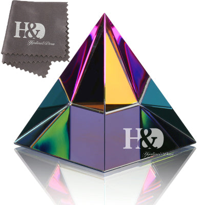 2'' Egyptian Crystal Pyramid Paperweight in Gift BOX