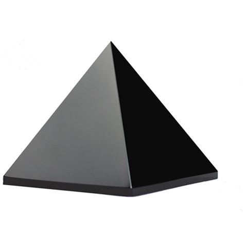 8 cm Natural Antique Black Obsidian Egypt Pyramid Paperweight