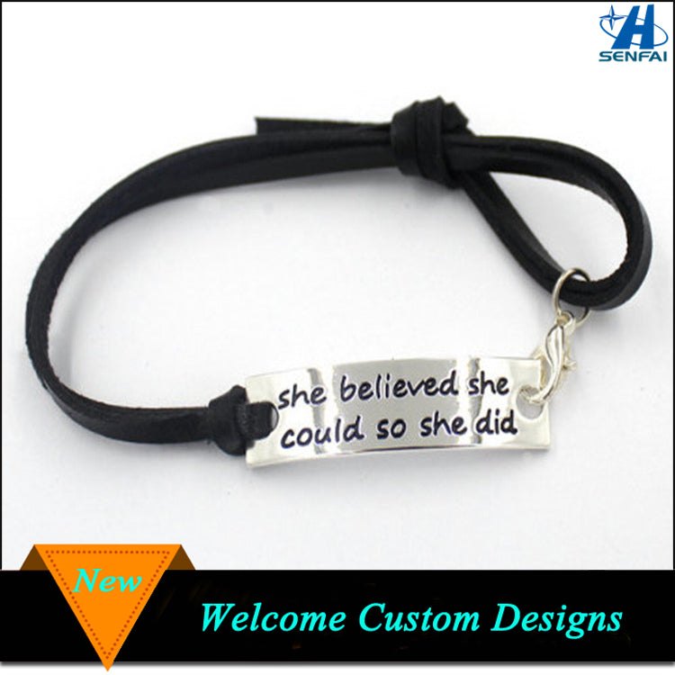 She Believed She Could So She Did Inspirational Affirmation Leather Bracelet Women
