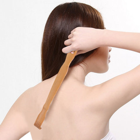 Natural Wooden Bamboo Back Scratcher Body Stick Dual Roller Back Massager